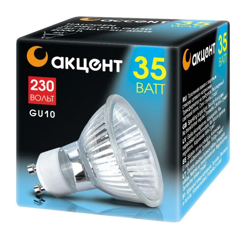 Лампа галогенная АКЦЕНТ JCDR 230В 35W GU5,3 с отражателем и защитным стеклом