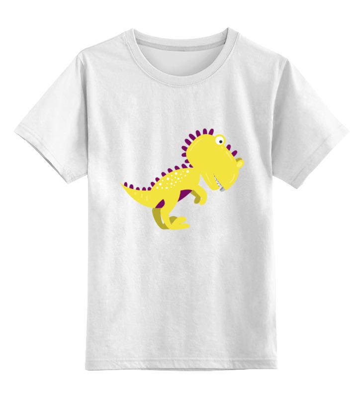 Купить 0000002143352, Детская футболка Printio Динозавр цв.белый р.116,