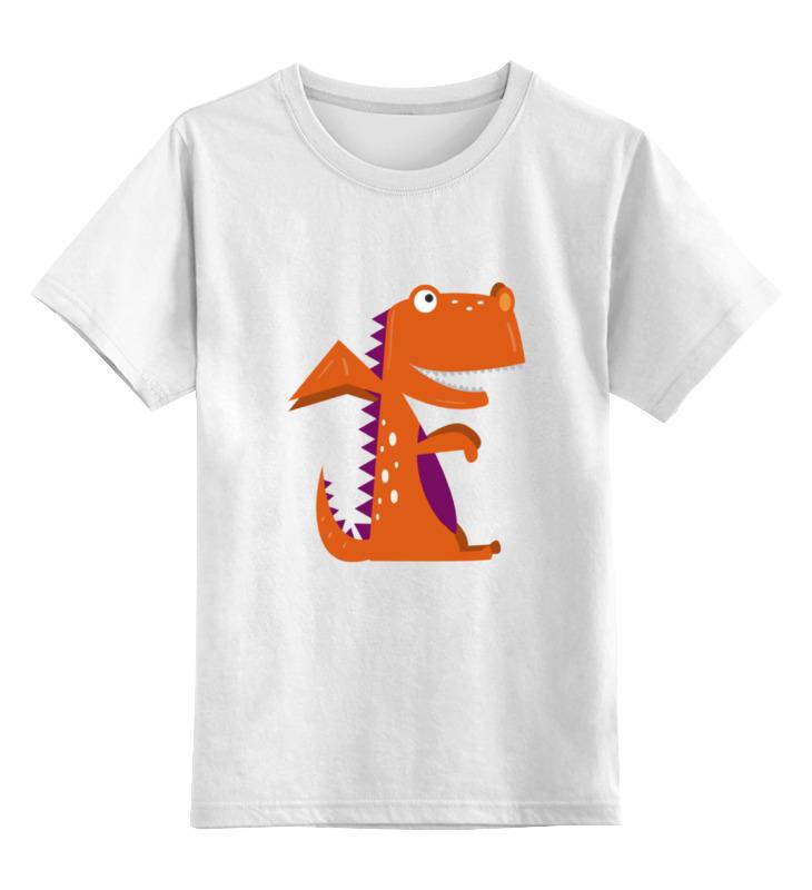 Купить 0000002143316, Детская футболка Printio Динозавр цв.белый р.116,