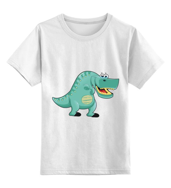 Купить 0000002079353, Детская футболка Printio Забавный динозавр цв.белый р.116,