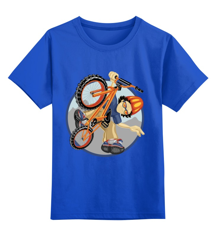 Купить 0000002216073, Детская футболка Printio Велосипед цв.синий р.128,