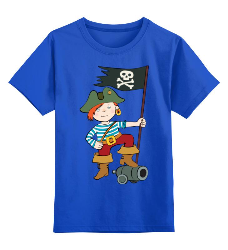 Купить 0000002123563, Детская футболка Printio Пират цв.синий р.128,