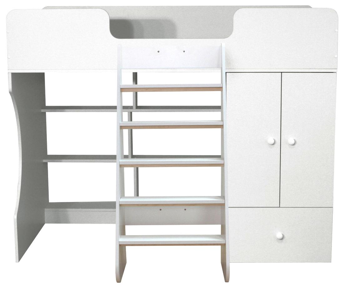 Кровать чердак Капризун со шкафом белый