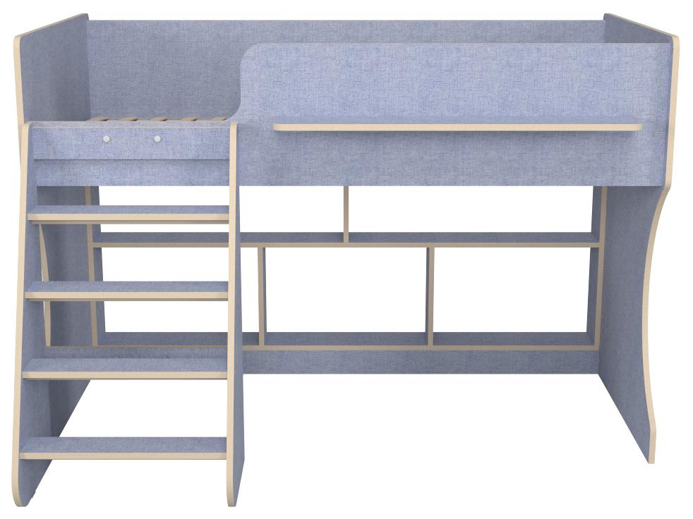 Детская кровать чердак Капризун Р436 лен голубой