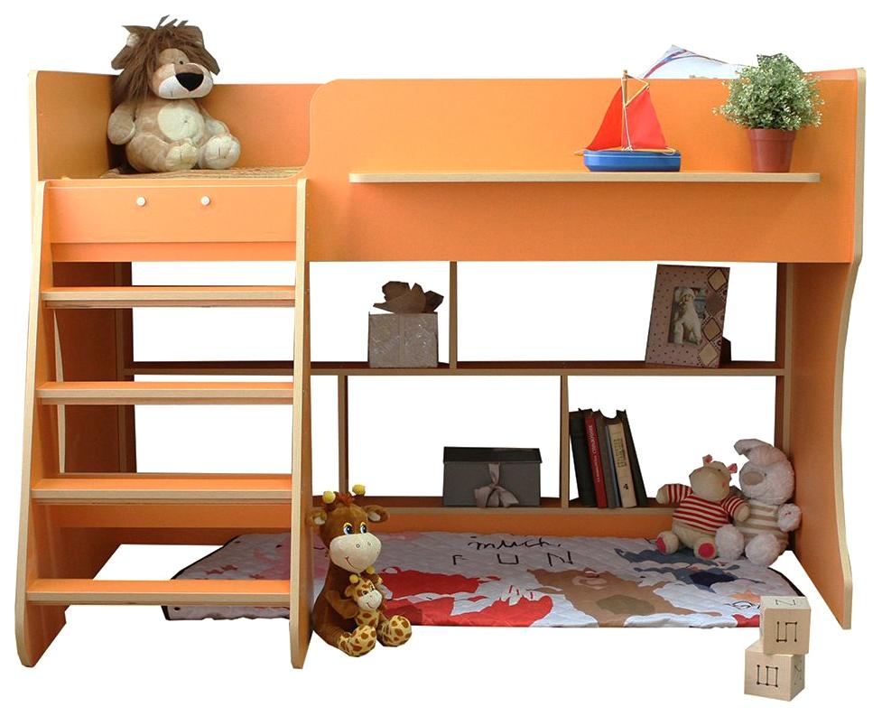 Детская кровать чердак Капризун Р436 оранжевый