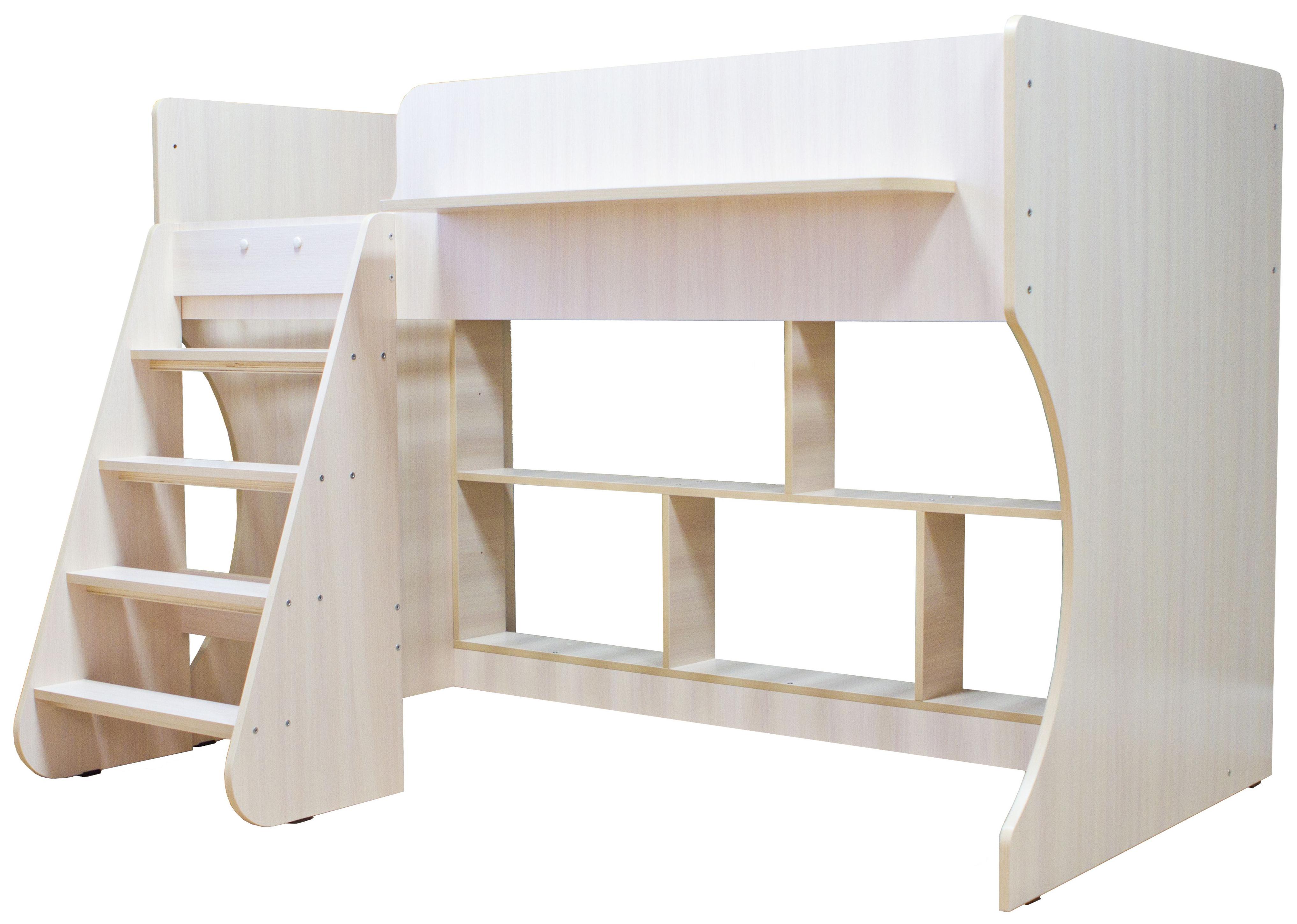Кровать чердак Капризун Р436 дуб млечный
