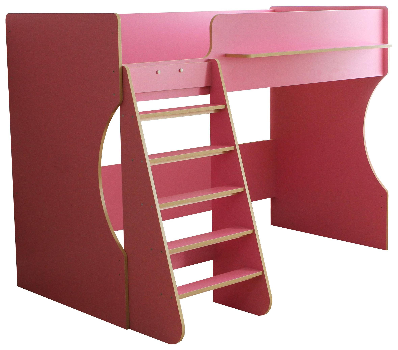 Кровать чердак Капризун Р432 с полками розовая
