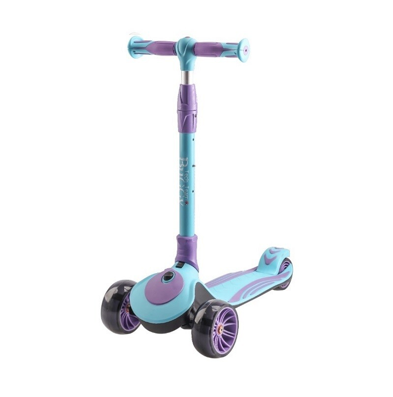 Купить Самокат детский трехколесный светящийся складной Tech Team Buggy 2020 фиолетово-голубой, Самокаты детские трехколесные