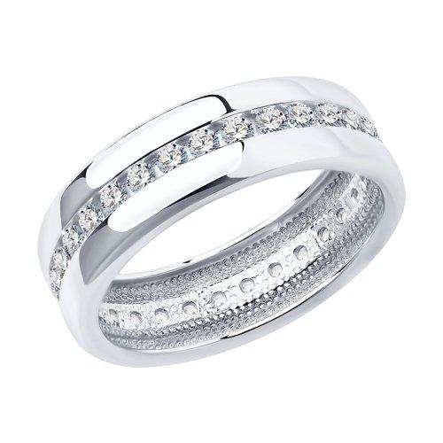 Обручальное кольцо женское SOKOLOV из серебра с фианитами 94110026 р.17.5