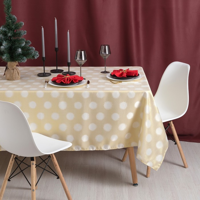 Скатерть Доляна «Золотые шарики» цвет золотой, 150×220 см