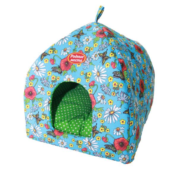 Домик для кошек и собак Родные места Избушка №1 Маки, 42x42x50см