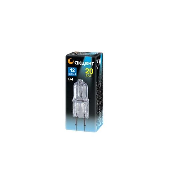 Лампа галогенная АКЦЕНТ JC 12В 20W G4 капсульная прозрачная