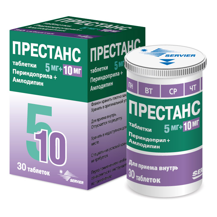Престанс с дозатором таблетки 5 мг+10 мг 30 шт.