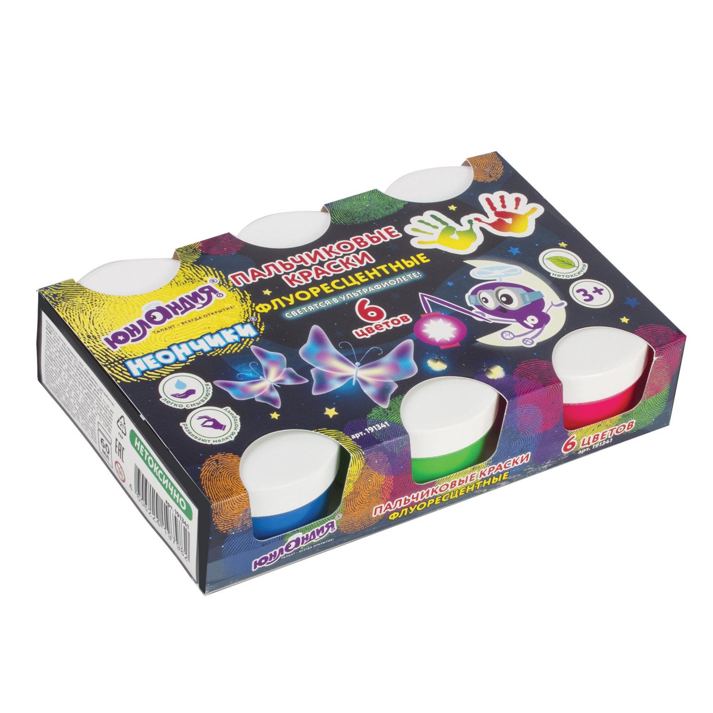 Краски пальчиковые ЮНЛАНДИЯ флуоресцентные, 6 цветов