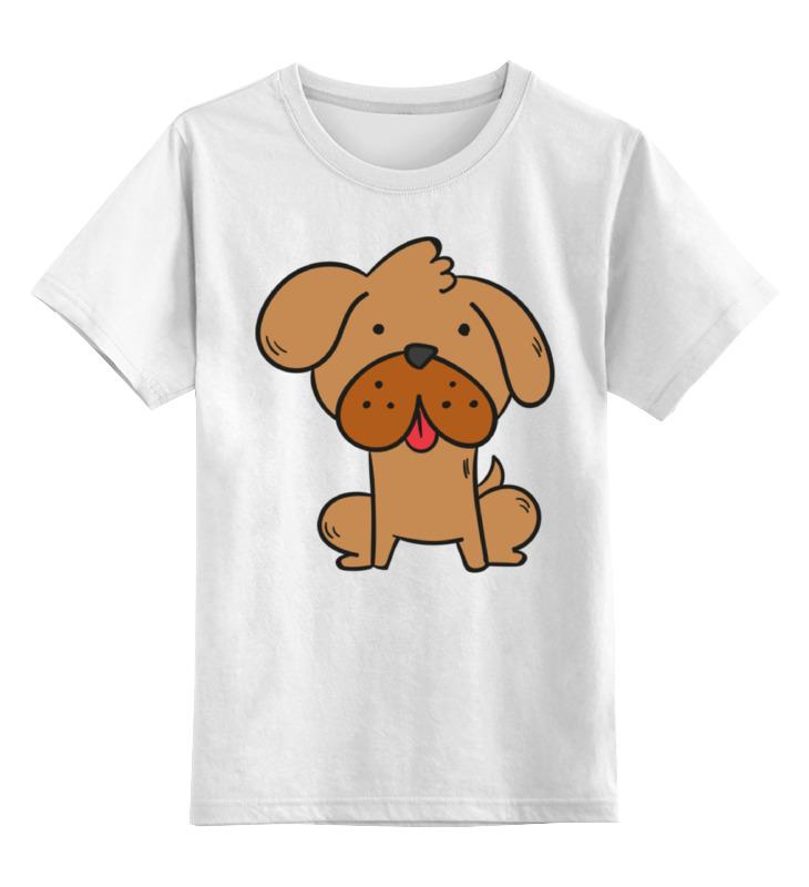 Купить 0000002279456, Детская футболка Printio Собачка цв.белый р.140,
