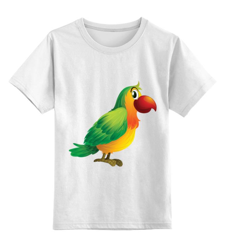 Купить 0000002199038, Детская футболка Printio Попугай кеша цв.белый р.140,