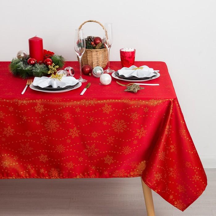Скатерть Доляна «Снежинки» цвет красный, 150×180 см, 115 ± 10 г/м², 100% п/э Доляна