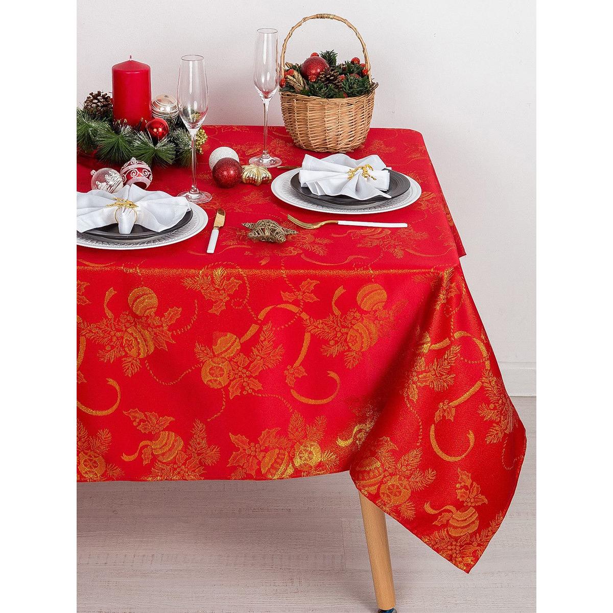Скатерть Доляна «Счастливый Новый год» цвет красный, 110×150 см