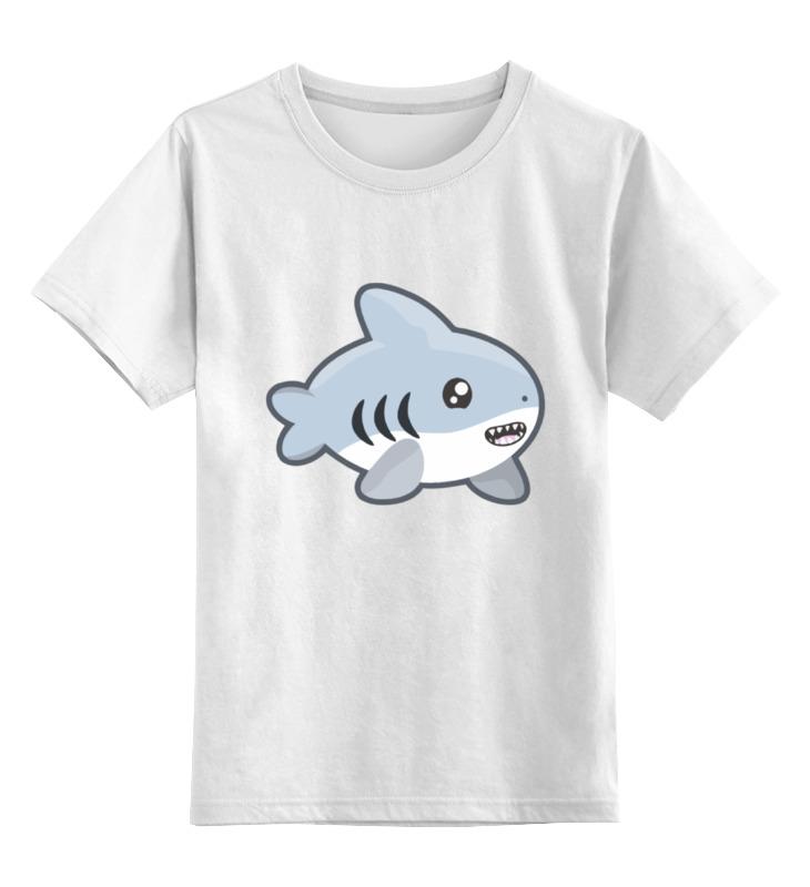 Купить 0000002170502, Детская футболка Printio Акула цв.белый р.140,