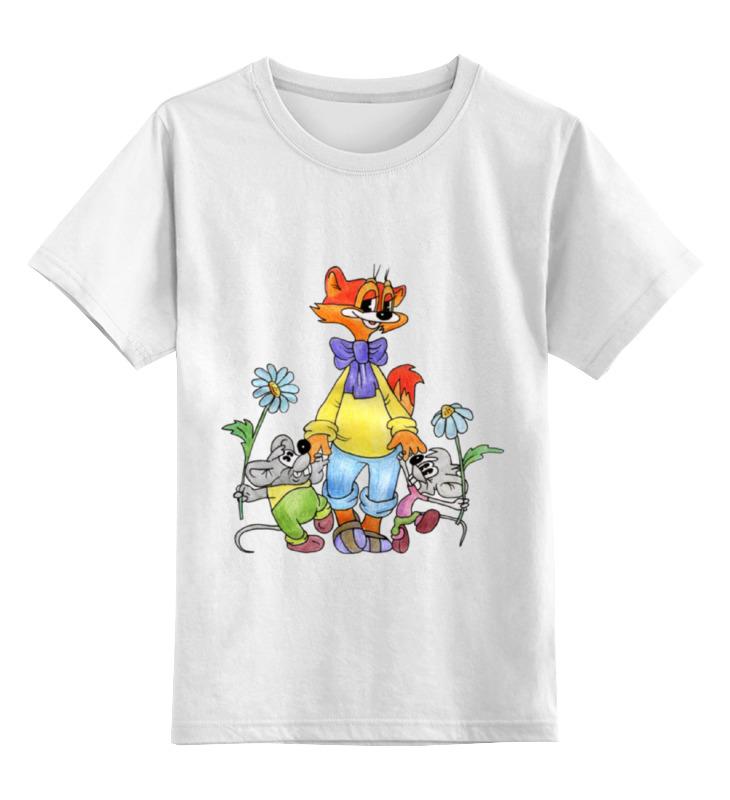 Купить 0000002104578, Детская футболка Printio Кот леопольд цв.белый р.140,