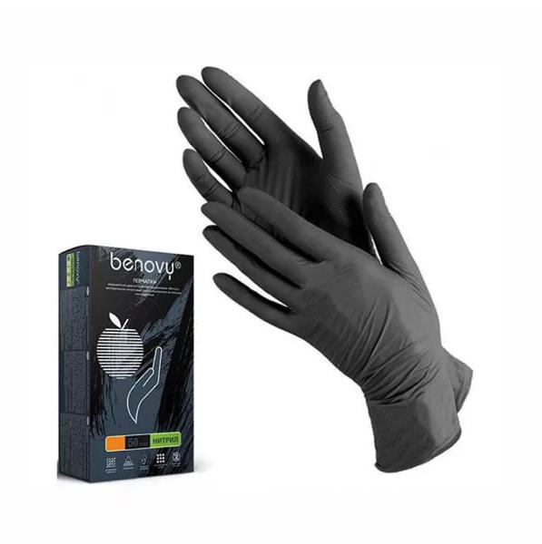 Купить Набор перчаток нитриловых Benovy Q неопудренные цвет чёрный размер XS 50 пар