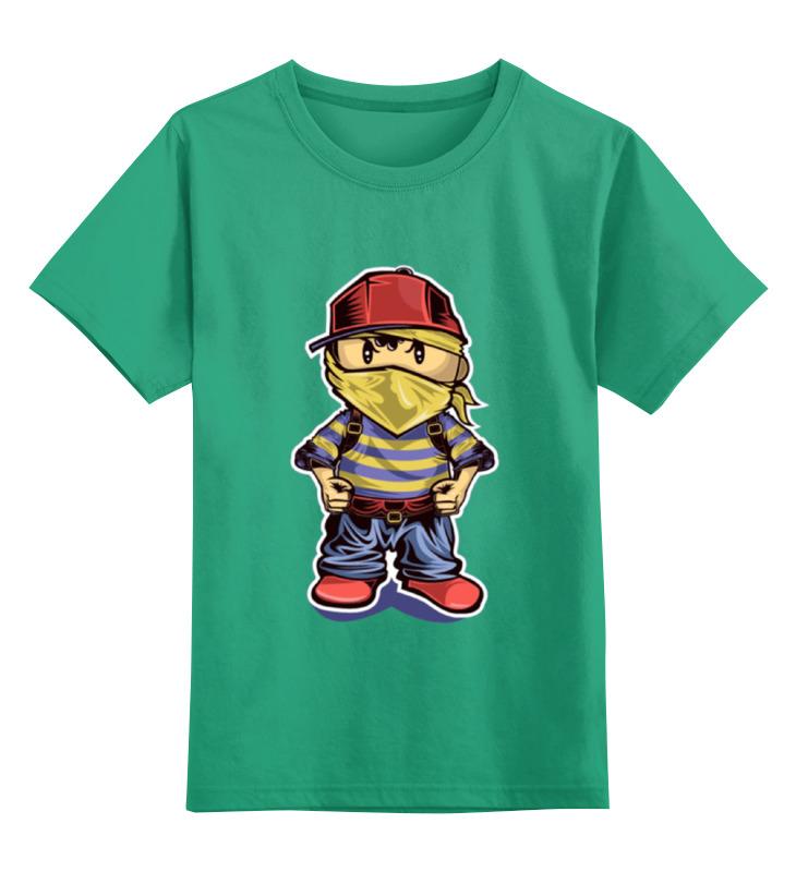 Купить 0000001455320, Детская футболка Printio Хулиган цв.зеленый р.152,