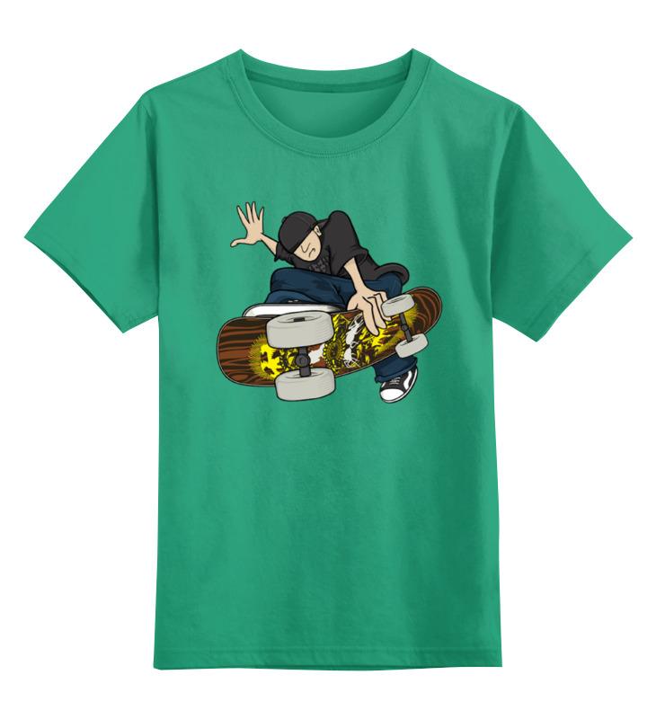 Купить 0000001375622, Детская футболка Printio Скейтбордист цв.зеленый р.152,
