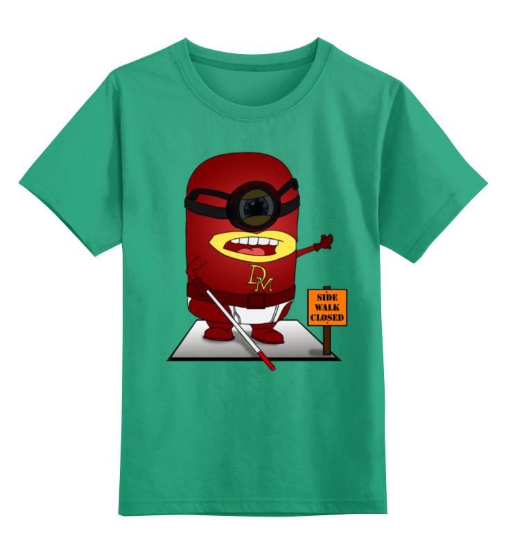 Купить 0000001349552, Детская футболка Printio Daredevil цв.зеленый р.152,