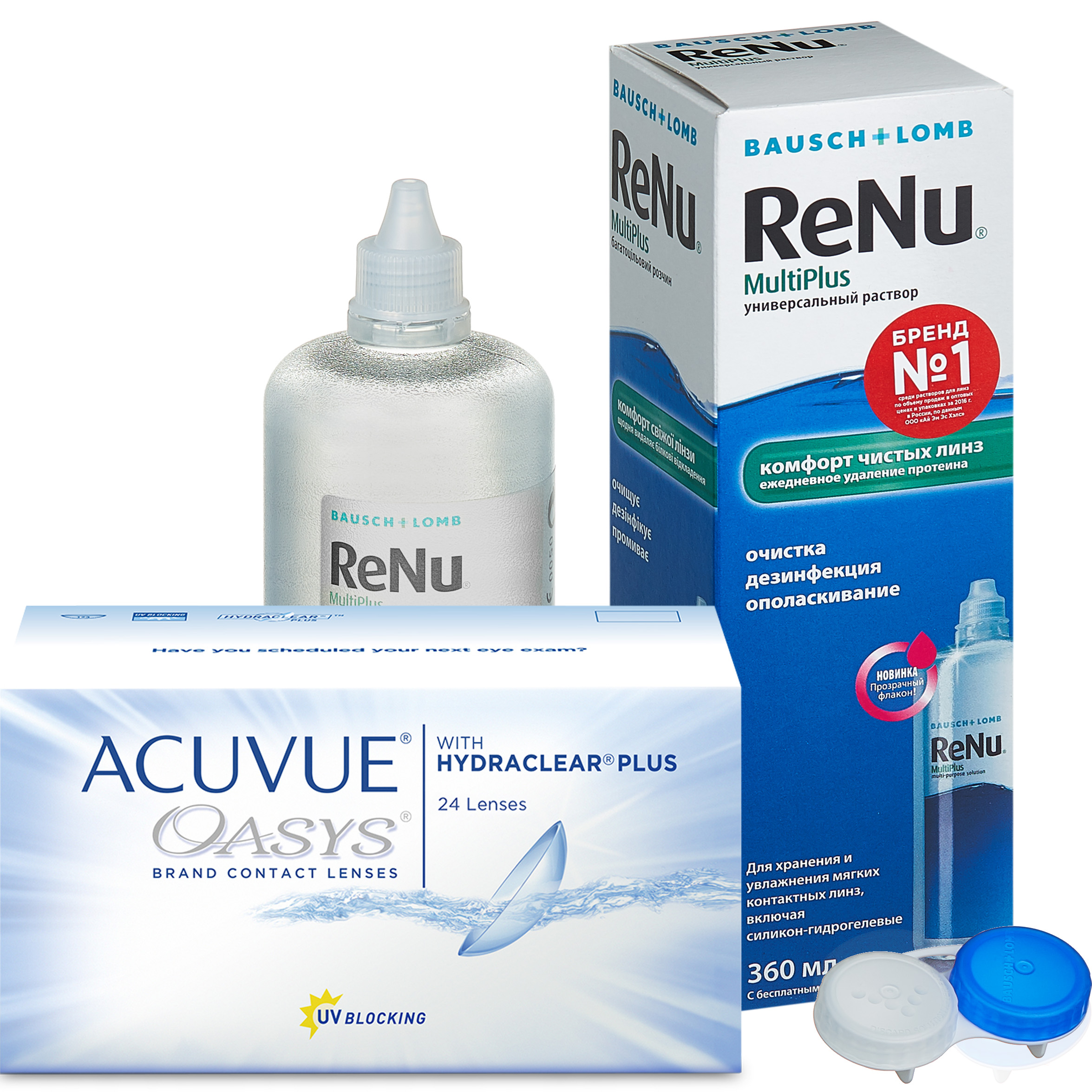 Купить Oasys with Hydraclear Plus 24 линзы + ReNu MultiPlus, Линзы Acuvue Oasys with Hydraclear Plus 24 линзы R 8.4 -1, 00 + ReNu Multi Plus 360 мл
