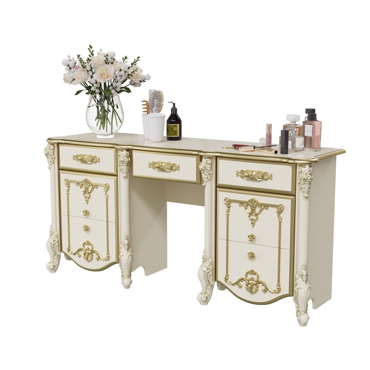 Стол туалетный Мэри-Мебель Дольче Вита СДВ-05 слоновая кость с золотом, 159х46х76 см.