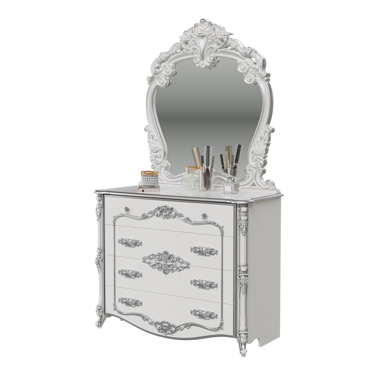 Комод Мэри-Мебель Дольче Вита СДВ-02+СДВ-06 120х53х209 см, белый глянец/серебристый