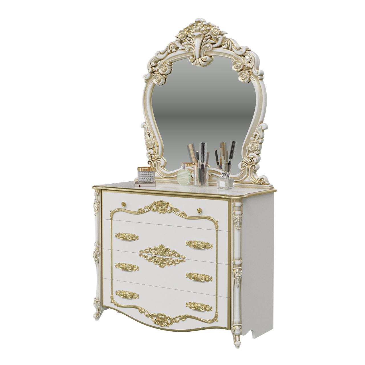 Комод Мэри-Мебель Дольче Вита СДВ-02+СДВ-06 120х53х209 см, белый глянец/золотистый