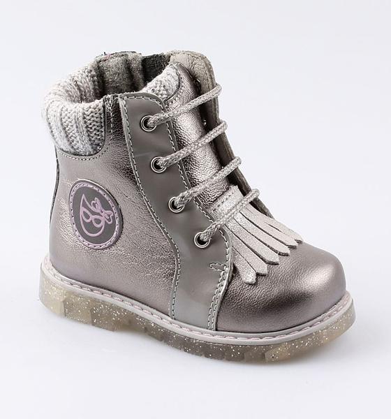 Купить 152177, Ботинки для девочек Котофей, цв. серый, серебристый, р-р 24,