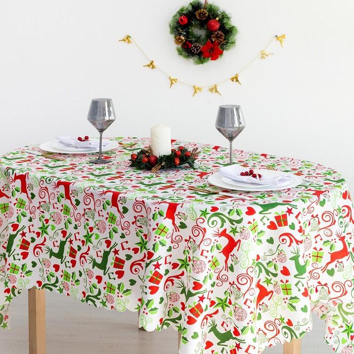 Скатерть Доляна «Рождественские подарки» 145×300 см, 100% п/э Доляна