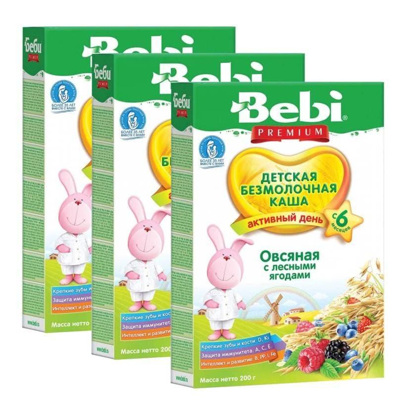 Купить Каша безмолочная Bebi Овсяная с лесными ягодами с 6 мес. 200 г, 3 шт., Детские каши