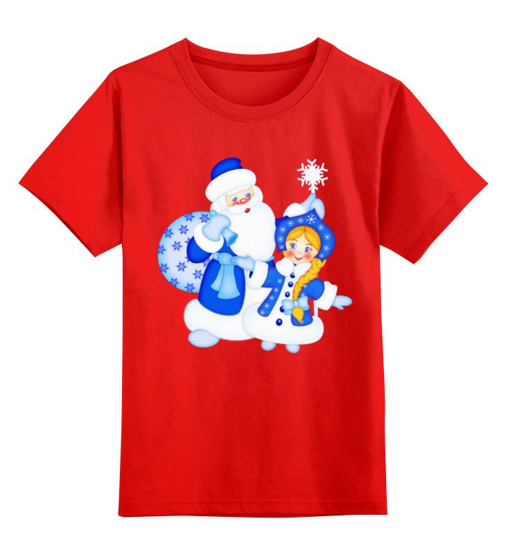 Купить 0000001034583, Детская футболка Printio Дед мороз и снегурочка цв.красный р.164,
