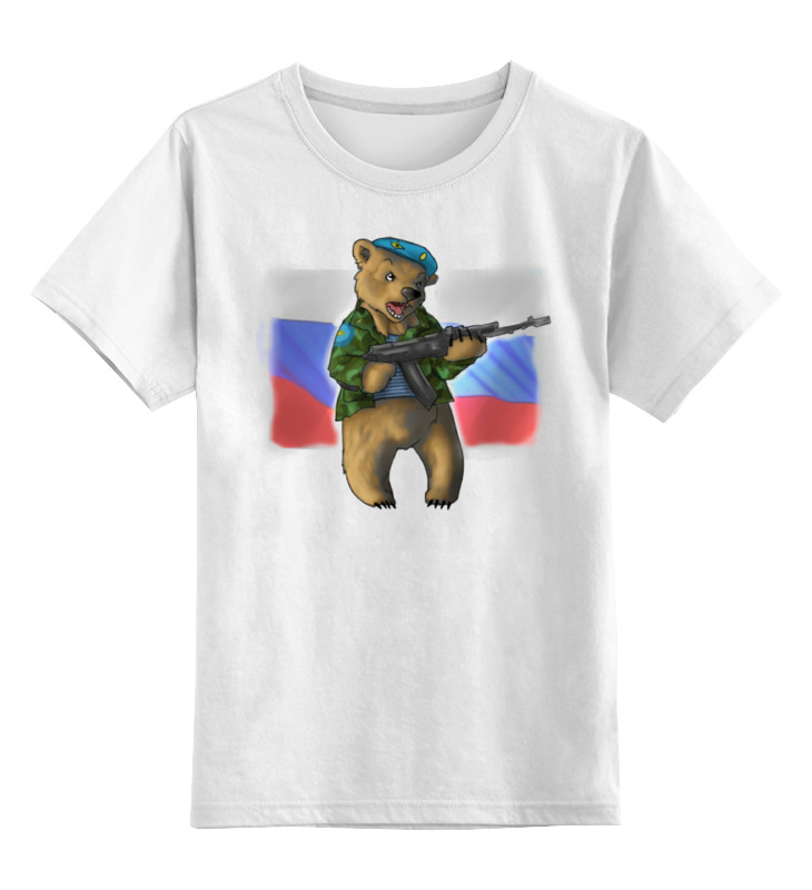 Детская футболка Printio Russian bear цв.белый р.164 0000000933975