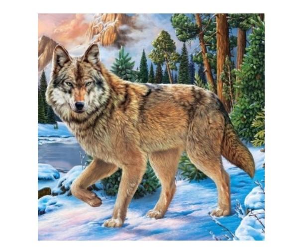 """Алмазная мозаика """"Волк в зимнем лесу"""", 20х20 cм (с полным заполнением, с подрамником) Рыжий кот"""