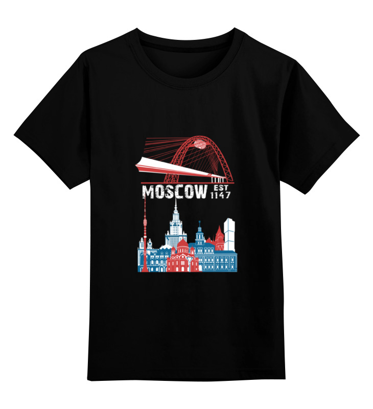 Детская футболка Printio Москва. moscow. establshed in 1147 1 цв.черный р.104 0000000948162 по цене 871