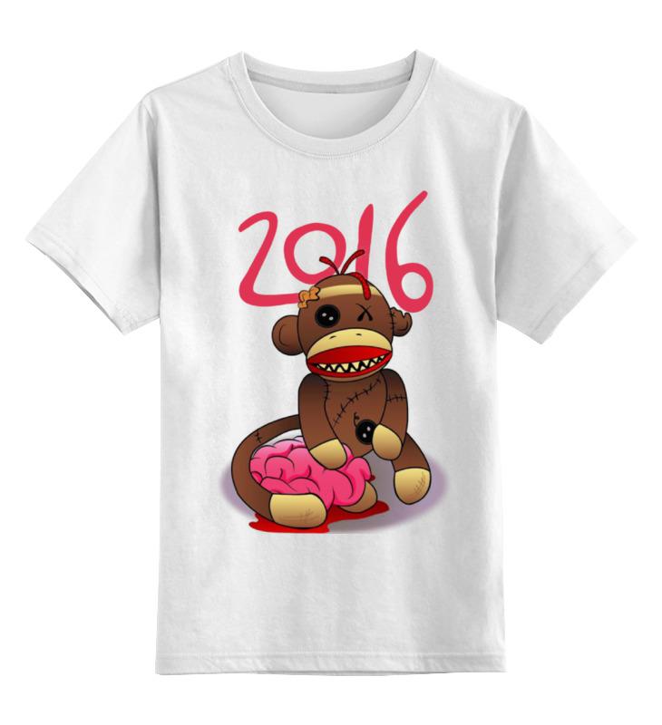 Купить 0000000905854, Детская футболка Printio Год обезьяны цв.белый р.104,