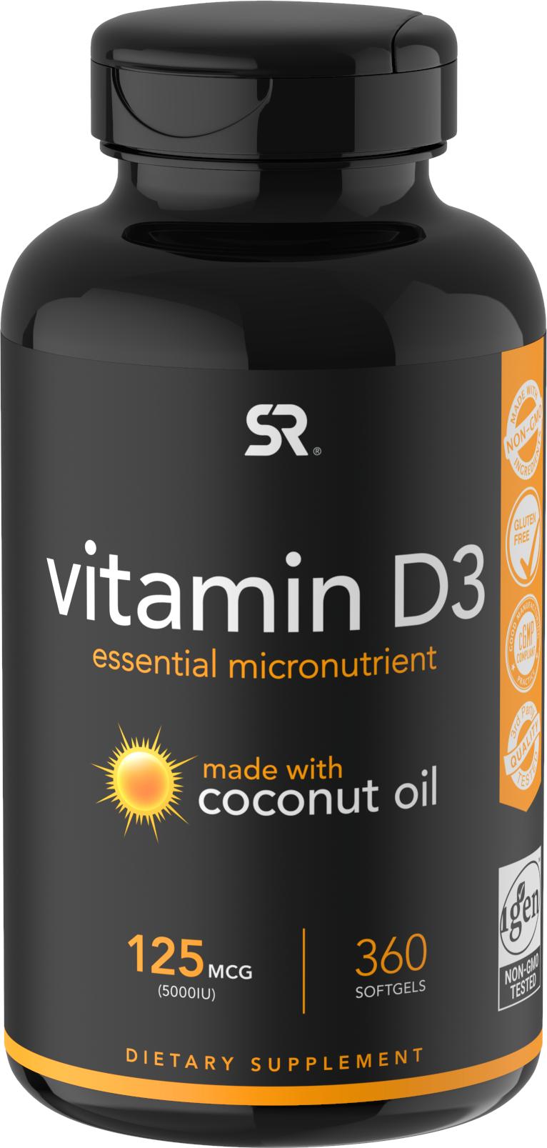 Купить Витамин D3 (с Органическим Кокосовым Маслом), Витамин D3 Sports Research с органическим кокосовым маслом капсулы 5000 МЕ 360 шт.