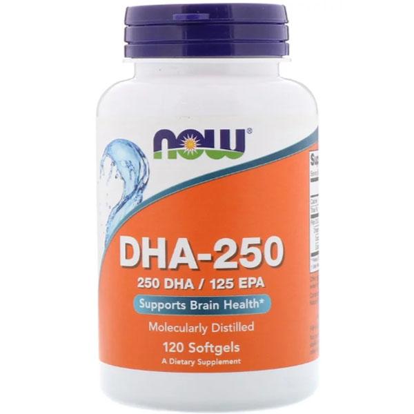 NOW DHA — 250 (250 DHA/125 EPA) (120 капсул) - докозагексаеновая кислота омега 3 фото