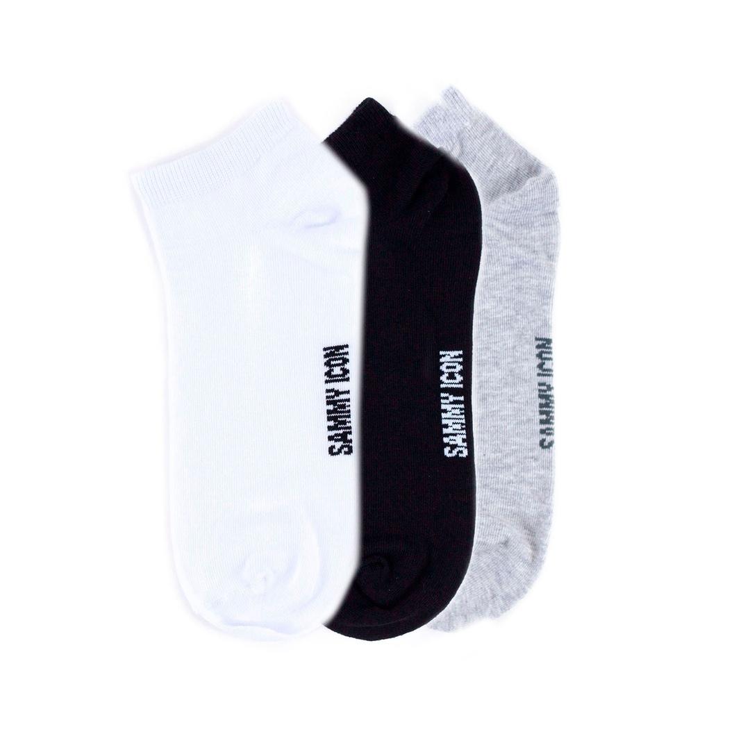 Комплект однотонных носков Sammy Icon Ankle Solid - 3 Pair Set - White/Black/Grey