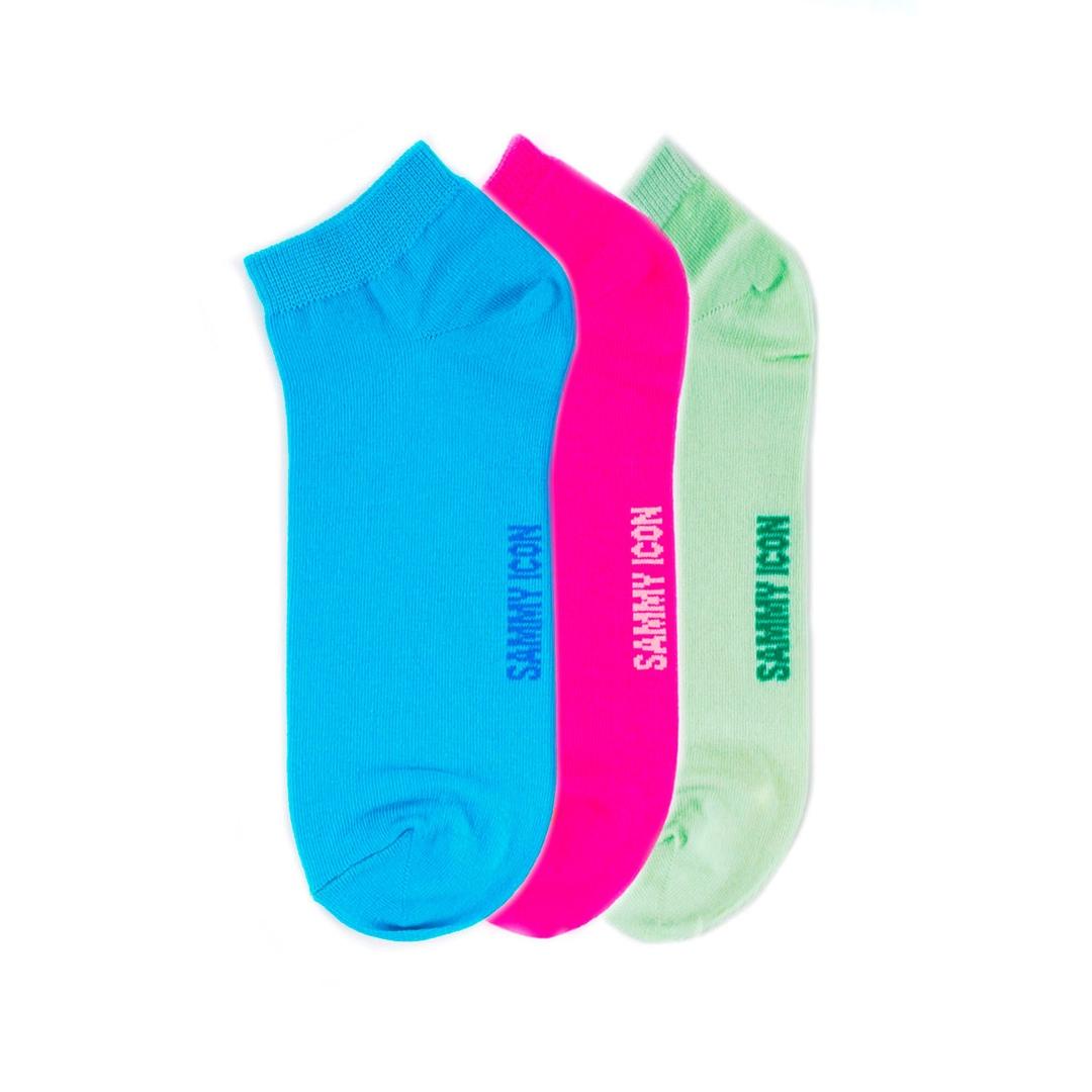 Комплект однотонных носков Sammy Icon Ankle Solid - 3 Pair Set - Green/Blue/Purple