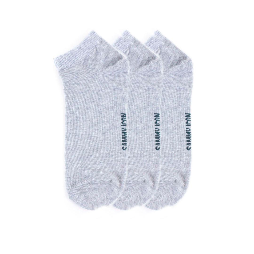 Комплект однотонных носков Sammy Icon Ankle Solid - 3 Pair Set - Grey