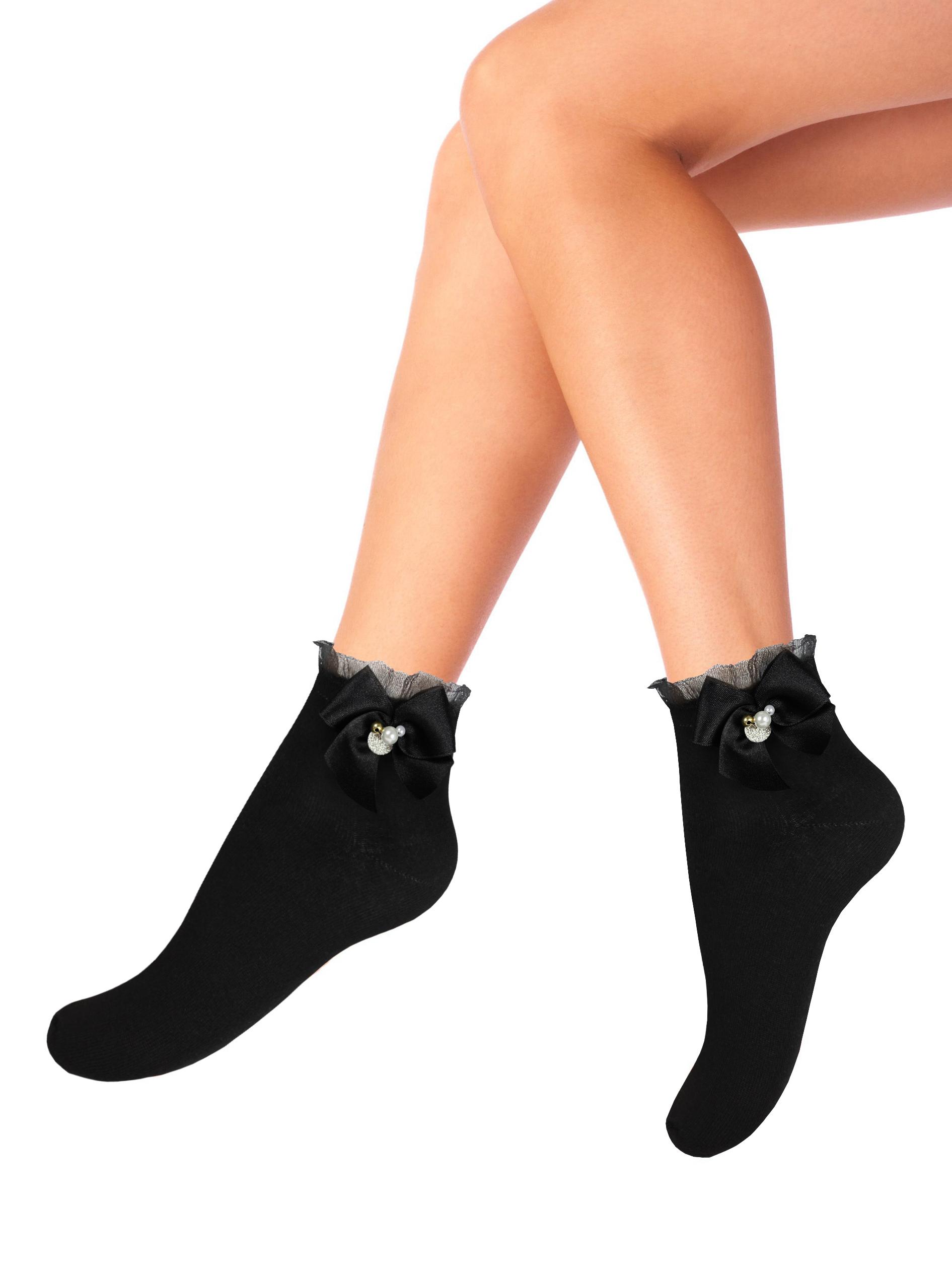 Носки женские Mademoiselle 9522-8 (большой бант) черные UNI