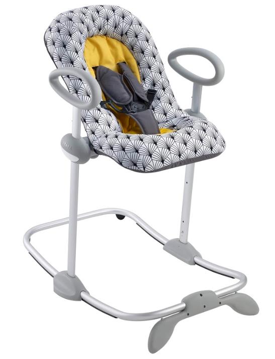 Шезлонг детский Beaba bouncer up&down v3 цвет серый с желтым