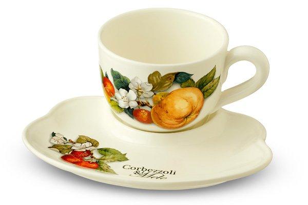 Чашка на блюдце-подносе Итальянские фрукты 500 мл Nuova Cer 34090