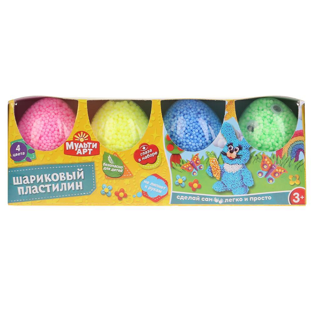 Набор шарикового крупнозернистого незастывающего пластилина Multiart 4 цвета, глаза Multi Art