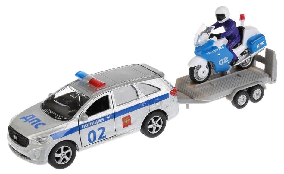 Купить Машина инерционная Технопарк Kia Sorento Prime Полиция + Мотоцикл,